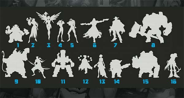 Silhouettes personnage Overwatch